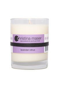 Christina Maser Co. Lavender Citrus Soy Wax Candle 10 oz glass tumbler.