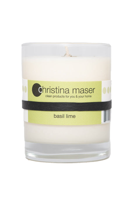 Christina Maser Co. Basil Lime Soy Wax Candle 10 oz. glass tumbler