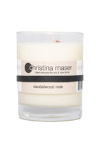 Load image into Gallery viewer, Christina Maser Co. Sandalwood Rose Soy Wax Candle 10 oz. glass tumbler.