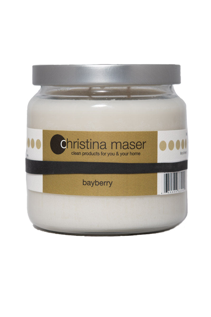 Christina Maser Co. Bayberry Soy Wax Candle 16 oz. glass jar.