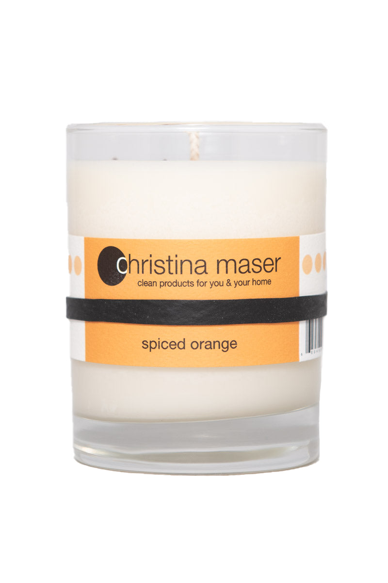 Christina Maser Co. Spiced Orange Soy Wax Candle 10 oz. glass tumbler.