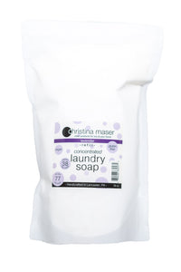 Concentrated powdered vegan laundry soap refill bag. Lavender scented with essential oil only. High efficiency compatible.