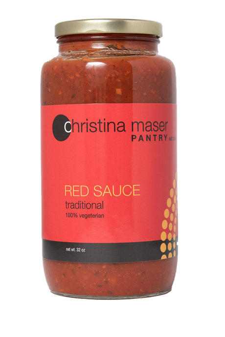 Traditional Red Sauce in large glass jar with metal lid and red wraparound label. Vegetarian. Great for pasta or pizza.