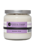 Load image into Gallery viewer, Christina Maser Co. Lavender Citrus Soy Wax Candle 16 oz glass jar.
