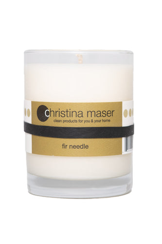 Christina Maser Co. Fir Needle Soy Wax Candle 10 oz. glass tumbler.