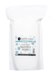 Concentrated powdered vegan laundry soap refill bag. Rosemary mint scented with essential oil only. High efficiency compatible.