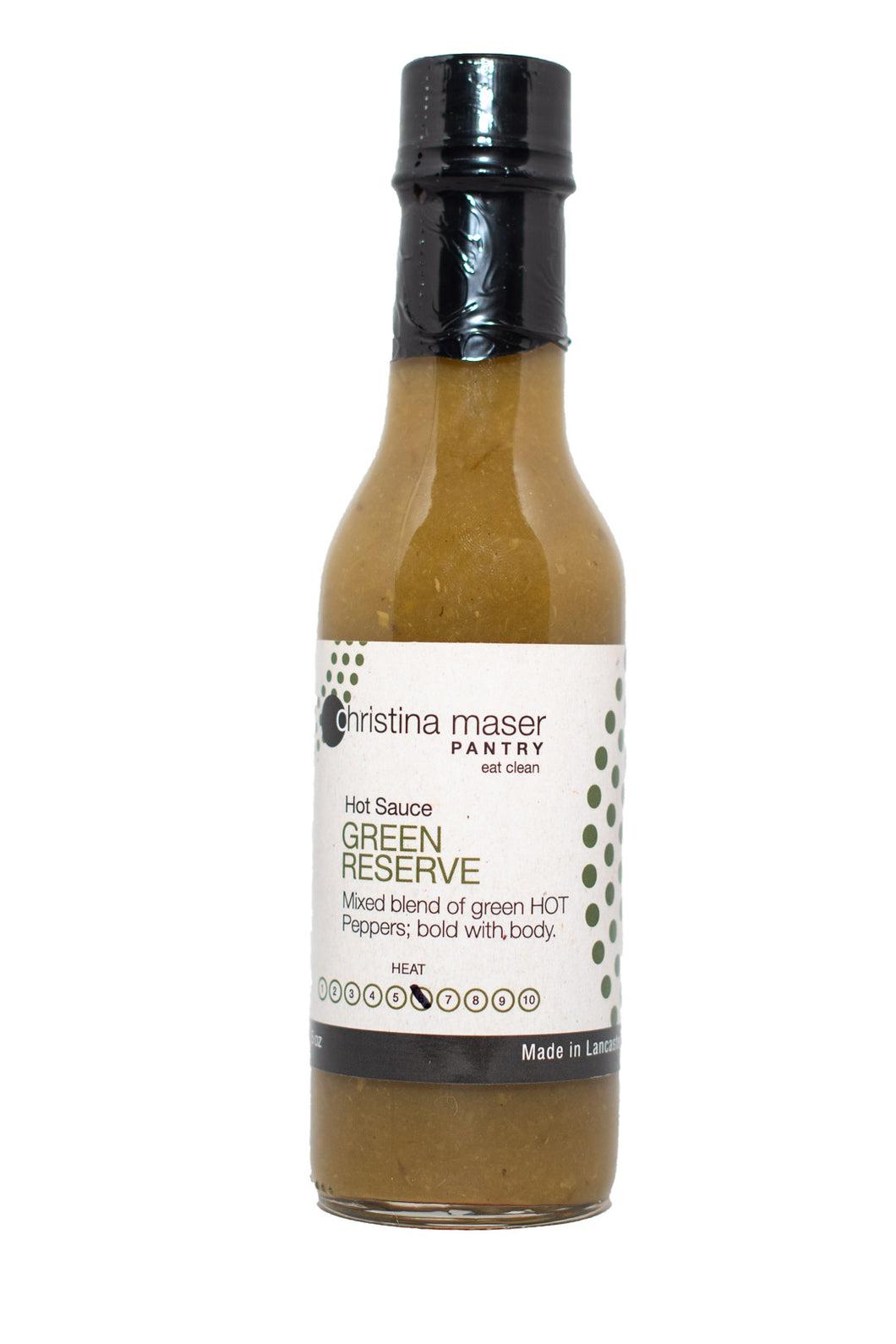 Green Reserve hot sauce in a glass bottle with black lid. Hot sauce is green. Label is off white with dark green accents.