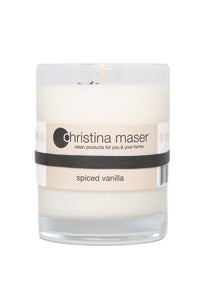 Spiced Vanilla soy wax candle in clear glass tumbler with beige label.