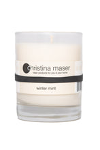 Load image into Gallery viewer, Christina Maser Co. Winter Mint Soy Wax Candle 10 oz glass tumbler.