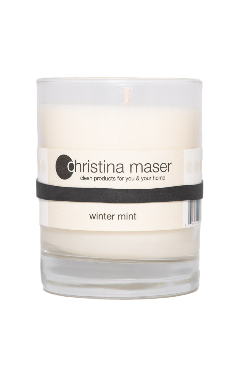 Christina Maser Co. Winter Mint Soy Wax Candle 10 oz glass tumbler.