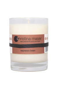 Christina Maser Co. Espresso Bean Soy Wax Candle 10 oz glass tumbler.