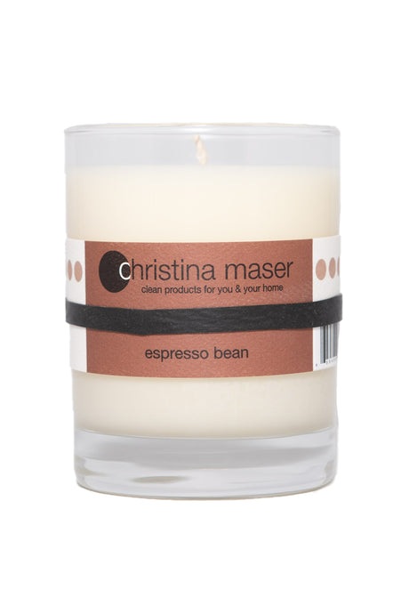 Espresso Bean soy wax candle in glass tumbler. Tumbler is clear glass with brown label. Please reuse or recycle tumbler when finished.
