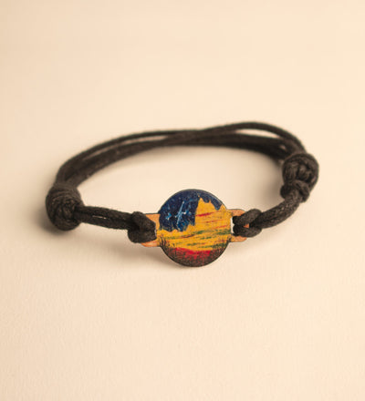 Resin Painted Wood Scene Bracelet