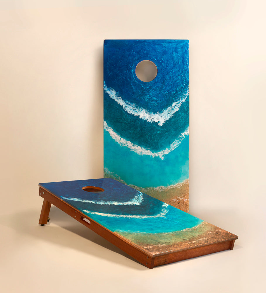 The Beach Resin Cornhole Board