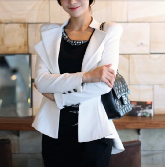 Womens Slim Fit Double Collar White Blazer - The Updated Ones