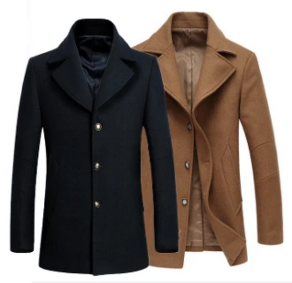 Men's Single Breasted Wool Blend Coat - The Updated Ones