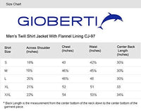 Gioberti Men's Brushed and Soft Twill Shirt Jacket with Flannel Lining, Black, L - The Updated Ones