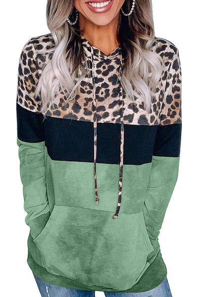 Angerella Women's Color Block Sweatshirts Hoodie Leopard Patchwork Drawstring Pullover Tops with Pockets Green L - The Updated Ones