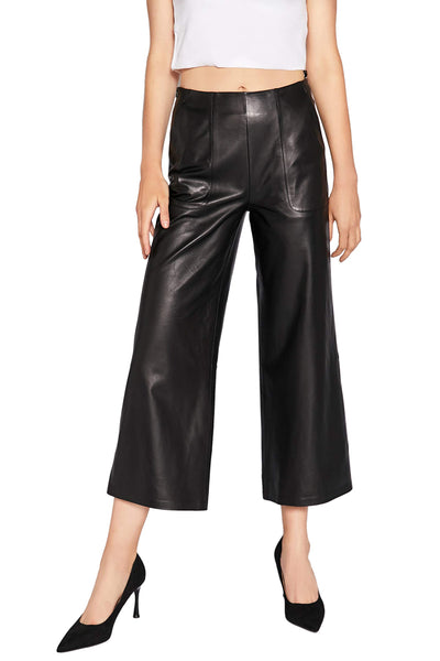 Women's Real Leather Pants High Waist Leather Wide Leg Pants Black SmartUniverseWear (Black, X-Large) - The Updated Ones