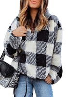Dokotoo Womens Winter Cozy Loose Casual Long Sleeve Oversized Soft Sherpa Fuzzy Fluffy Fleece Half 1/4 Zip Collar Plaid Checkered Sweatshirt Pullover Sweater Outerwear Black Medium - The Upda