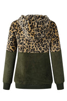HAPCOPE Women's Leopard Print Pullover Sweater Oversized Sherpa Hoodies Army Green XL - The Updated Ones
