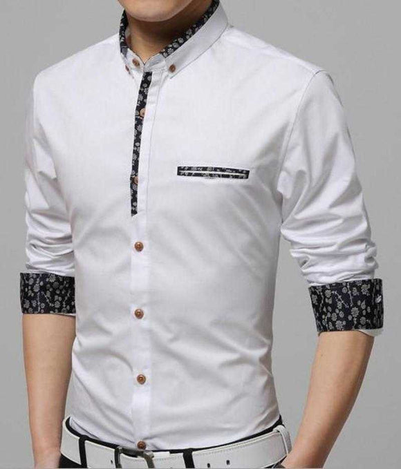 Men's Classic White  Button Front Shirt with Floral Trim Details - The Updated Ones