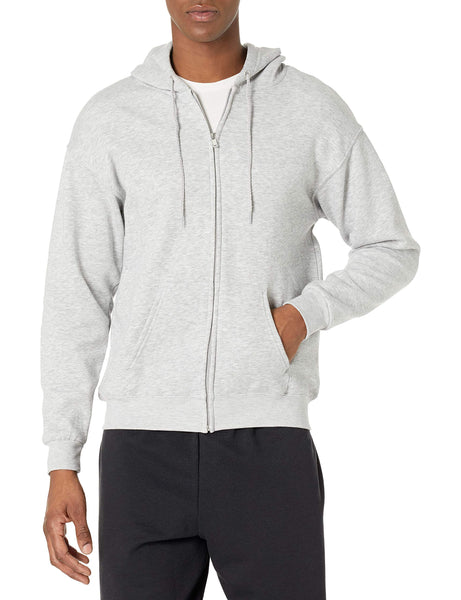 Hanes Men's Full-Zip Eco-Smart Fleece Hoodie, Light Steel, X-Large - The Updated Ones
