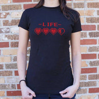 8-Bit Life Hearts T-Shirt | Women's Short Sleeve Top - The Updated Ones