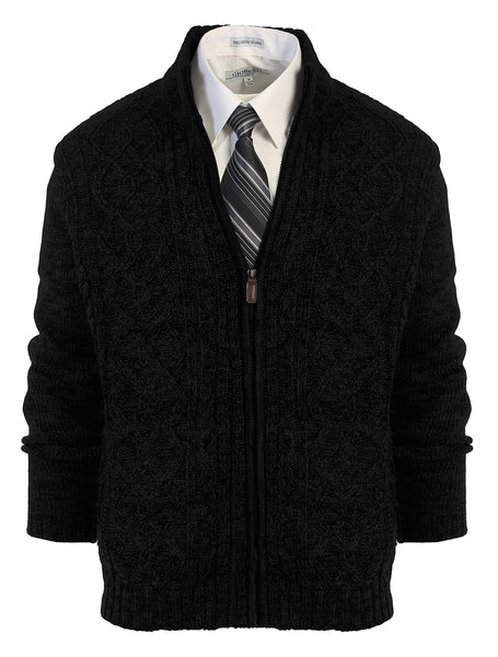 Gioberti Mens Heavy Weight Cardigan Twisted Knit Regular Fit Full-Zipper Sweater, Black, 2X-Large - The Updated Ones