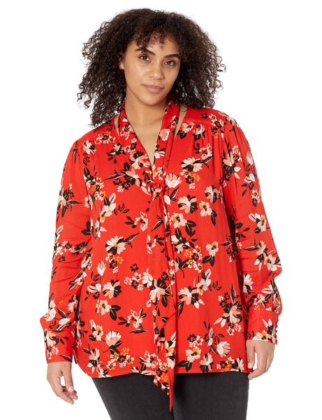 Jessica Simpson Women's Plus Size Dazed Neck Tie Long Sleeve Twilly Blouse, Fiery Red Sporadic Blooms, 2X - The Updated Ones
