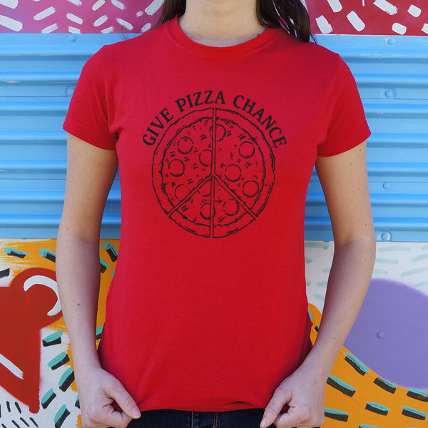 Give Pizza Chance T-Shirt | Women's Short Sleeve Top - The Updated Ones