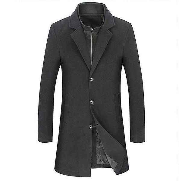 Men's Dual Collar Mid Length Coat - The Updated Ones