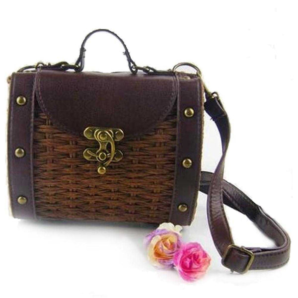 Womens Vintage Look Wicker Straw Handbag - The Updated Ones