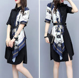 Womens Long Shirt Dress with Scarf - The Updated Ones