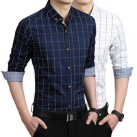Men's Navy Blue Checkered Button Front Shirt - The Updated Ones