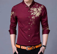 Men's Button Front Shirt with Floral Design in Blue - The Updated Ones