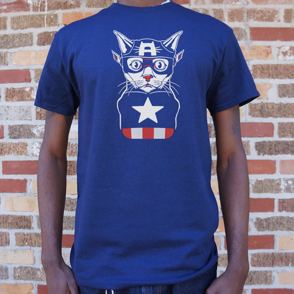 Captain Ameri-Cat T-Shirt | Short Sleeve Graphic Tee - The Updated Ones