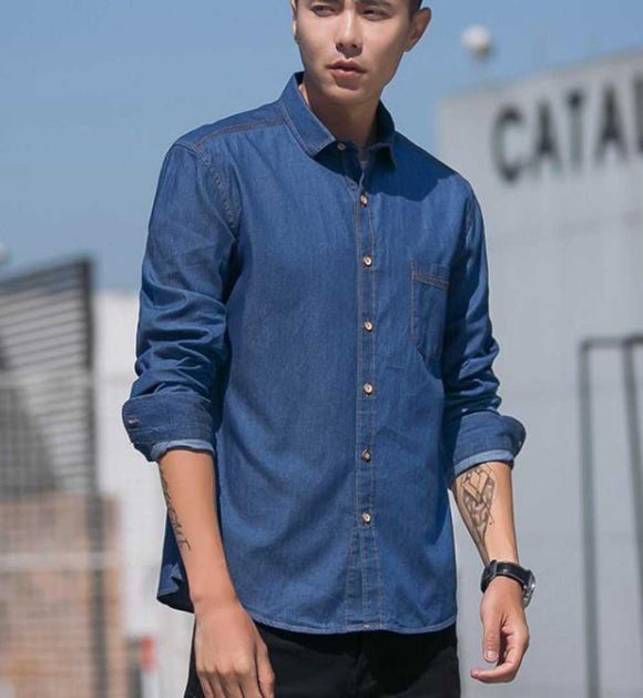 Mens Casual Button Front Denim Shirt - The Updated Ones
