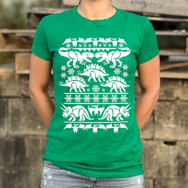 Ugly Dinosaur Sweater T-Shirt | Women's Short Sleeve Top - The Updated Ones