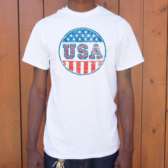 USA Campaign Button T-Shirt | Men's Short Sleeve Graphic Shirts - The Updated Ones