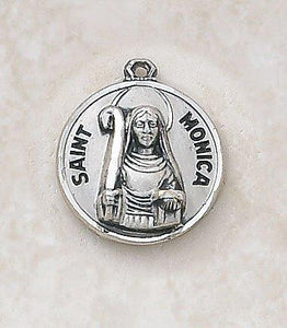 "St. Monica Medal Pendant with Chain - 18"" L"