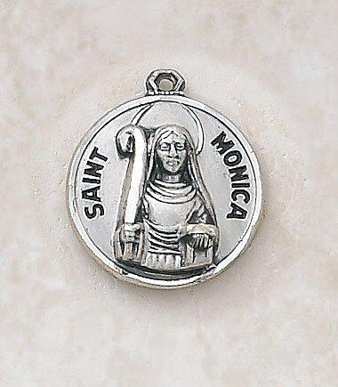 St. Monica Medal Pendant with Chain - 18