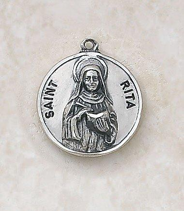St. Rita Medal Pendant with Chain - 18