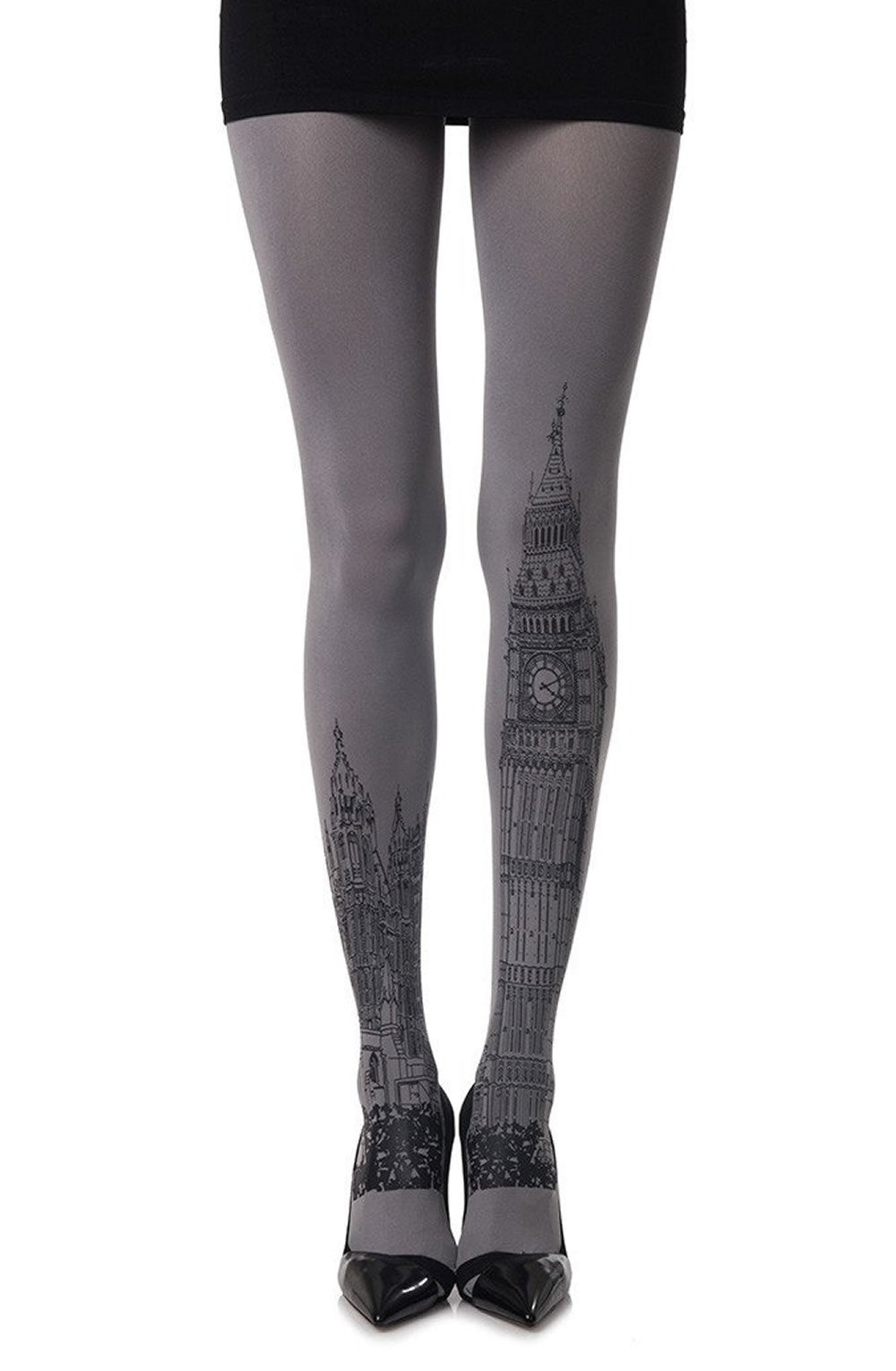 TIGHTS - GREY/BLACK - ZOHARA LONDON TIME PRINT - AvecEnvie