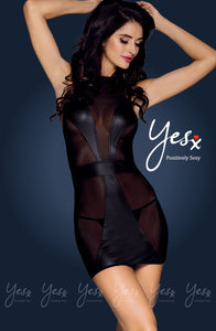 DRESS - BLACK - YESX MESH AND VINYL JOINTED