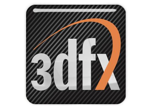 "3DFX 1""x1"" Chrome Effect Domed Case Badge / Sticker Logo"