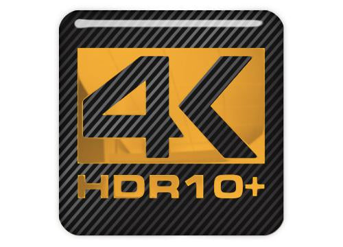 "4K HDR10+ 1""x1"" Chrome Effect Domed Case Badge / Sticker Logo"