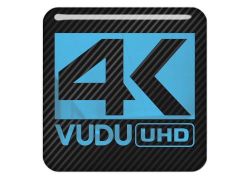 "4K VUDU UHD 1""x1"" Chrome Effect Domed Case Badge / Sticker Logo"