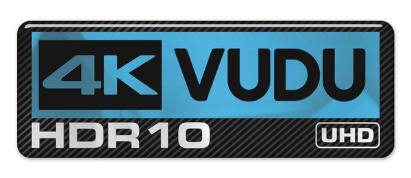 "4k HDR10 VUDU UHD 2.75""x1"" Chrome Effect Domed Case Badge / Sticker Logo"