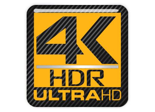 "4k HDR ULTRA HD 1""x1"" Chrome Effect Domed Case Badge / Sticker Logo"